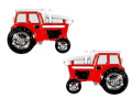 New Rhodium Plated Tractor Design Cufflinks (Red, Blue or Green variants)